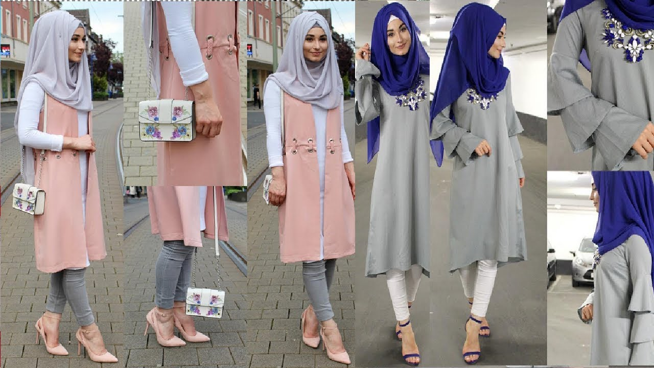 صورة ملابس محجبات 2019 , احدث تشيكلة ثياب للمراه المحجبه مودرن