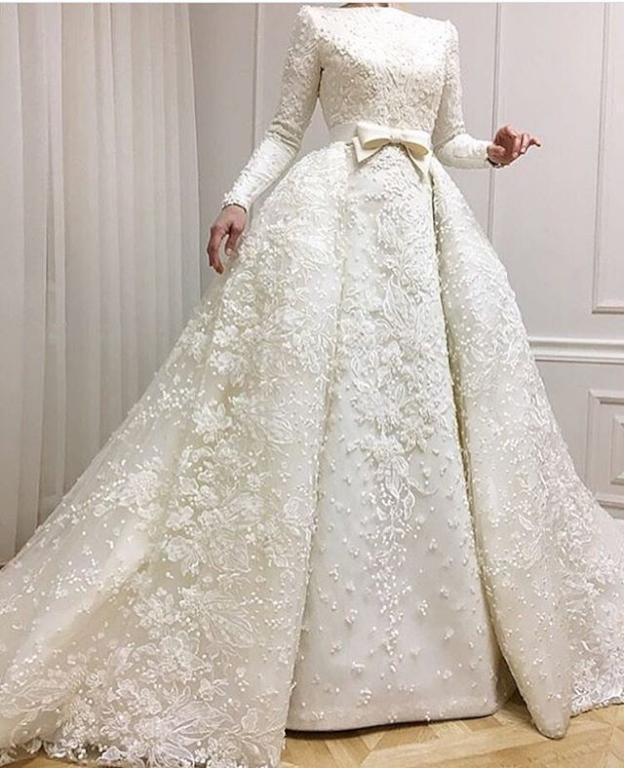 صورة فساتين زفاف للمحجبات , احدث ثياب فرح 2019للمراه المحجبه