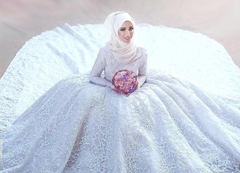 بالصور فساتين زفاف محجبات , فساتين افراح 2019 3949 6