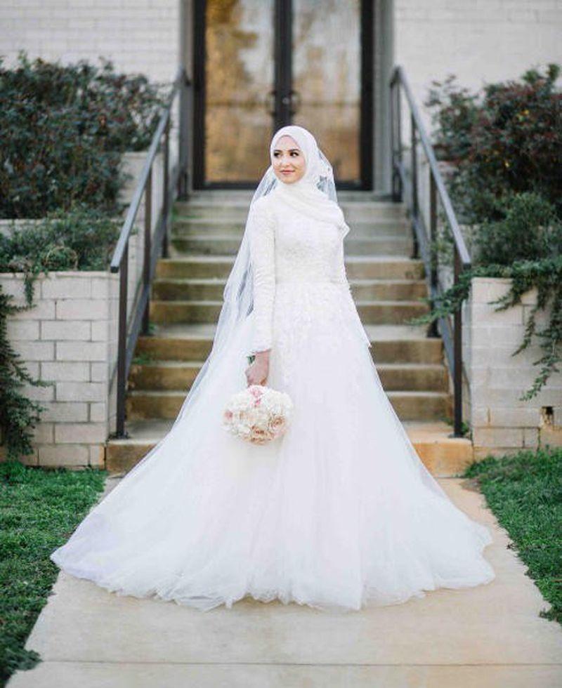 بالصور فساتين زفاف محجبات , فساتين افراح 2019 3949 8