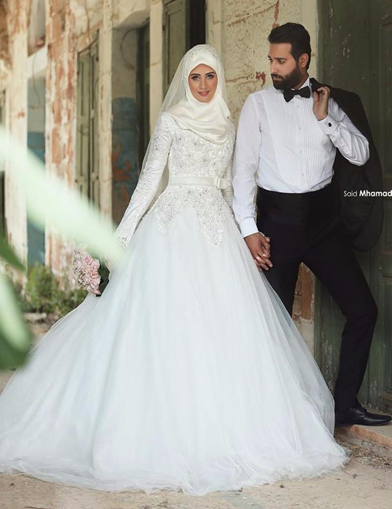 بالصور فساتين زفاف محجبات , فساتين افراح 2019 3949 9