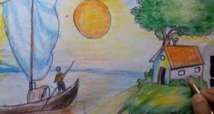 بالصور رسم منظر طبيعي سهل للاطفال , ابسط رسومات المناظر الطبيعية 4063 3