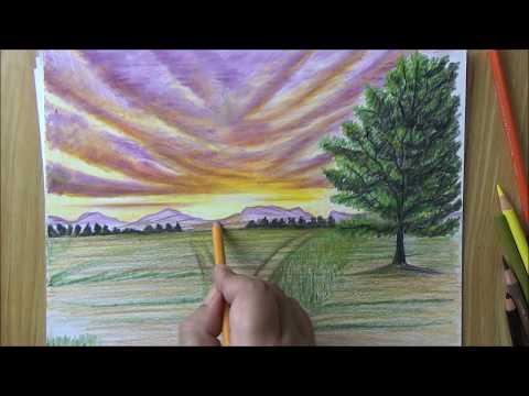 بالصور رسم منظر طبيعي سهل للاطفال , ابسط رسومات المناظر الطبيعية 4063 4