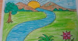 صوره رسم منظر طبيعي سهل للاطفال , ابسط رسومات المناظر الطبيعية