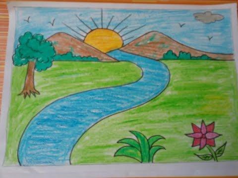 صورة رسم منظر طبيعي سهل للاطفال , ابسط رسومات المناظر الطبيعية