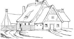 صور صورة منزل للتلوين , منازل بالقلم الرصاص