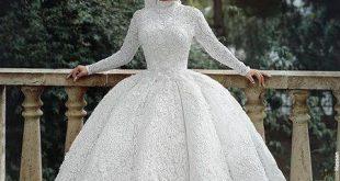 تألقي بحجابك , صور فساتين زفاف للمحجبات 2019